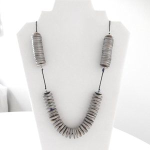 Jewelry - Silver Painted Wooden Heishi Necklace